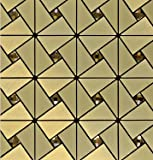 Aluminum Self-adhensive Mosaic Stickers,Kitchen Anti Oil Tile for Backsplash 12x12 Inch- LSLCB03 (Box of 10.76 sq ft)