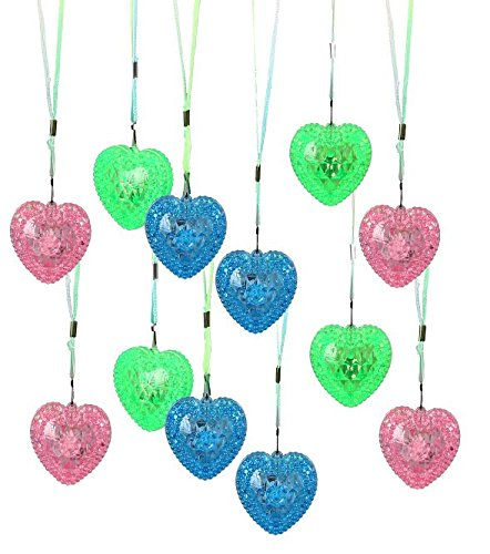 Valentines Assorted Colors Blinking Love Hearts Necklace On Colored Strings 24 Per Pack | Dazzling - Blinking Light Necklace