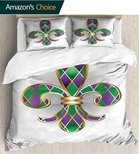 (Fleur De Lis Kids Quilt 3 Piece Bedding Set,Gold Colored Lily Symbol With Diamond Shapes Royalty Theme Ancient Art with Sham and Decorative 2 Pillows,Full Queen 104