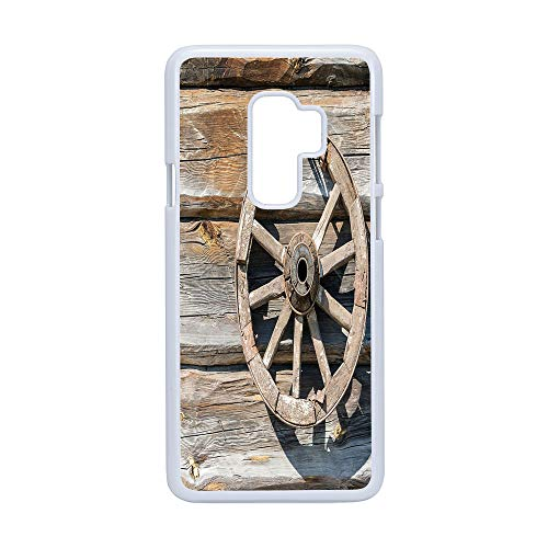 Wagons Cartwheels - Cell Phone Case Compatible Samsung Galaxy S9 Plus,Barn Wood Wagon Wheel - Hard Plastic Phone Case/White - Old Log Wall with Cartwheel Telega Rural Countryside Themed Image Decorative