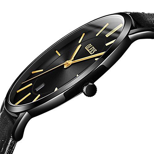 (Fashion Wrist Watches for Men Water Resistant Ultra Thin Quartz Watch,Analog Day Date Watches Men Calendar 2018,Business Wristwatches Waterproof,Black Leather Strap Watch,OLEVS Round Dial,Adjustable)
