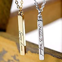 Men's Vertical id name Bar Custom Necklace Machine Engraving 16K Gold Silver Rose Gold Plated Personalized Necklace less then 20 Birthday Gift for men SAME DAY SHIPPING GIFT TIL 2PM CDT