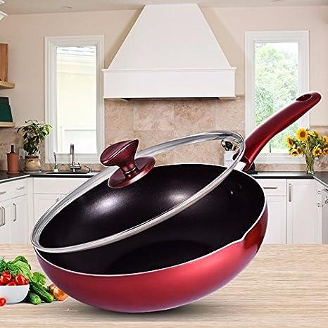 Non - Stick Cooking, cocinar sin humos de cocina, Flat pan, estufa de gas, horno electromagnético, 30cm,Claret: Amazon.es: Hogar