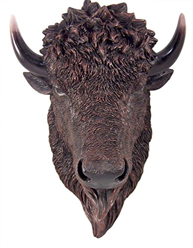 Thunder of the Plains Hanging Resin Buffalo Head Wall Mount, 11 1/2 Inch