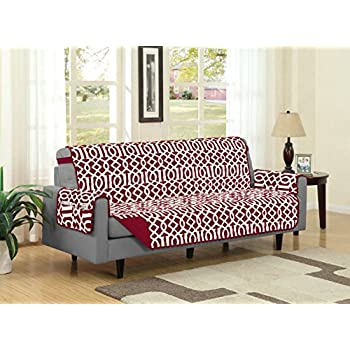 Linen Store Dallas Quilted Reversible Microfiber Furniture Protector With  Strap And Pockets, Burgundy, Sofa