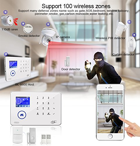 BAILING Wireless LCD WiFi & GSM SMS Home House Security Burglar Intruder Alarm System Auto Dialer
