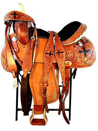 15 16 Western Show Floral Cross Tooled Leather Horse Barrel Racing Saddle TACK Set (15 Inch)