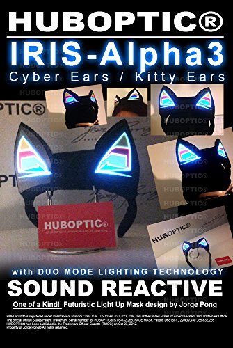 [Iris-Alpha3 Cyber Ears - Light Up DJ Cat/Kitty Ears - Neko Ears - Cosplay Ears Rave Dancers EDM] (Authentic Catwoman Costumes)