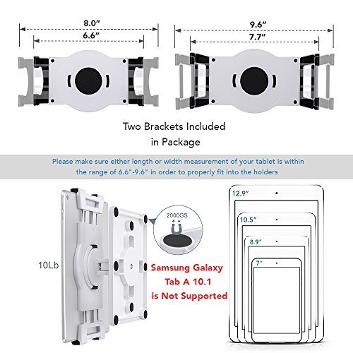 AboveTEK Universal Magnetic Tablet Mount, Swivel iPad Stand, 360° Rotating Clamp Holder Fits 6-13'' Display Tablets, Strong Attach to Metal Surface on Cabinet Whiteboard Kitchen Fridge Steel Car Door by AboveTEK (Image #4)