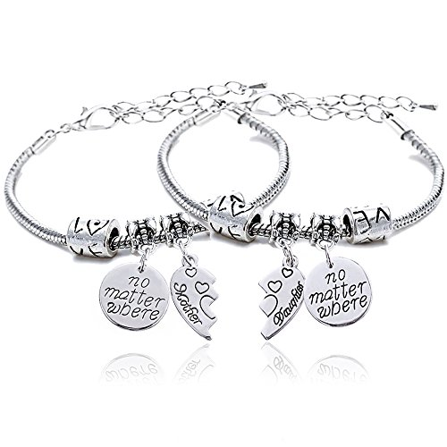 (lauhonmin 2pcs Mother Daughter Bangles Set No Matter Where Compass Split Broken Heart Expandable Bracelets Gift (Charm Bracelet))