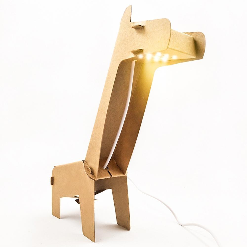 HONGLICreativo, minimalista, carta DIY piegato giraffa LED scrivania lampada, bambini animali notturni LED con forma di giraffa progettato, corpo lampada verniciabile per comodino, decorazione, regalo