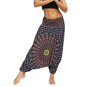 HebeTop Women's Drop Bottom Elastic Waist Loose Fit Baggy Gypsy Hippie Boho Yoga Harem Pants
