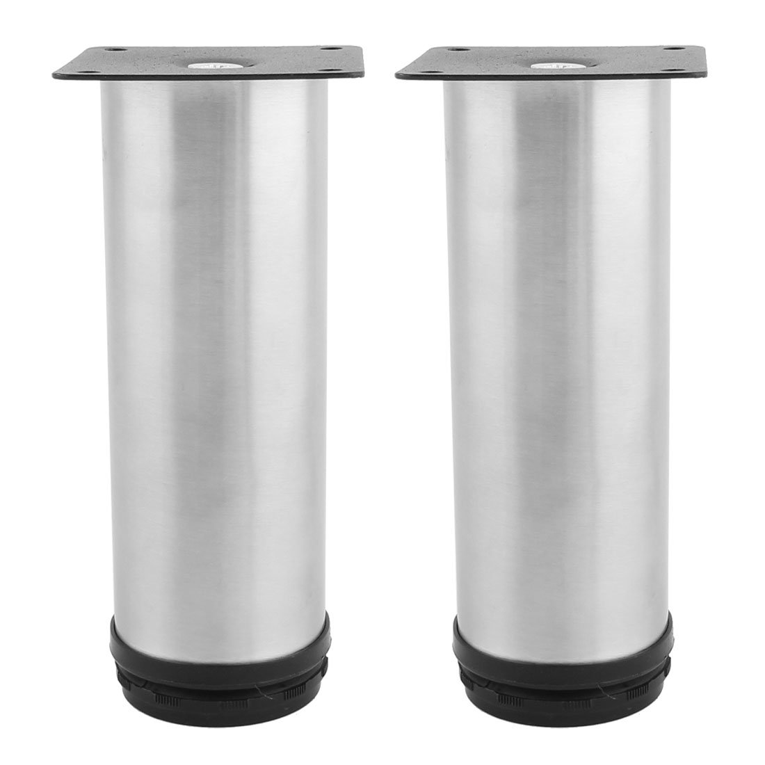 uxcell Kitchen Cabinet Cupboard Round Adjustable Furniture Leg Foot Support 150mm 2PCS Silver Tone