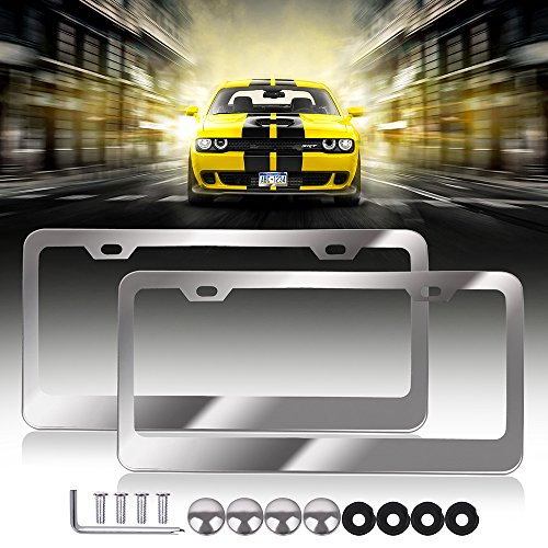 Car Licenses Plate Covers Aluminum License Plates Frames with Screw Caps 2 Pcs 2 Holes Polish Mirror Powder Coated Plate Cover Frame Shield Combo (Carbon Fiber Dodge Neon Mirror)