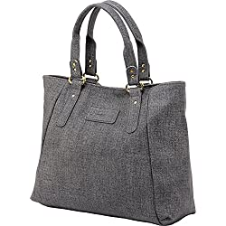 ZMSnow Women's PU Leather Handbags Lightweight Tote Casual Work Bag, 1-grey