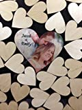Alternative Wedding wood guest book Circle top drop shadow box with 1.5 inch heart charms