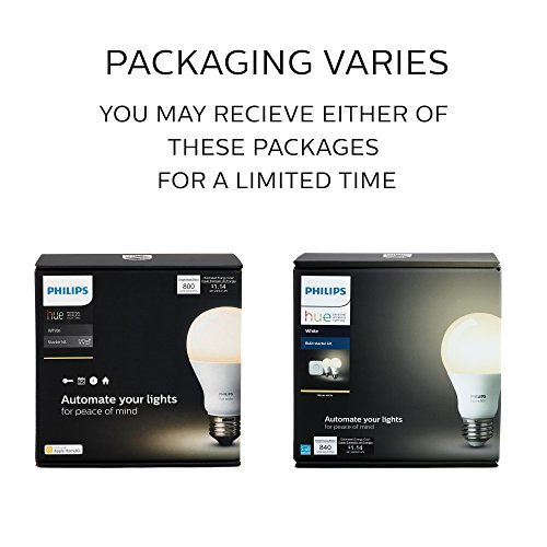 Large Product Image of Philips Hue White A19 60W Equivalent Smart Bulb Starter Kit (Compatible with Amazon Alexa, Apple HomeKit, and Google Assistant)