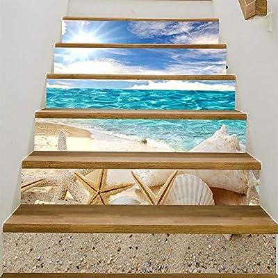 Paso Escalera Pegatinas Adhesivo para escaleras, decoración de elementos marinos - simulación 3D-removible-impermeable Decoración de pared de moda Pegatinas de pared: Amazon.es: Bricolaje y herramientas
