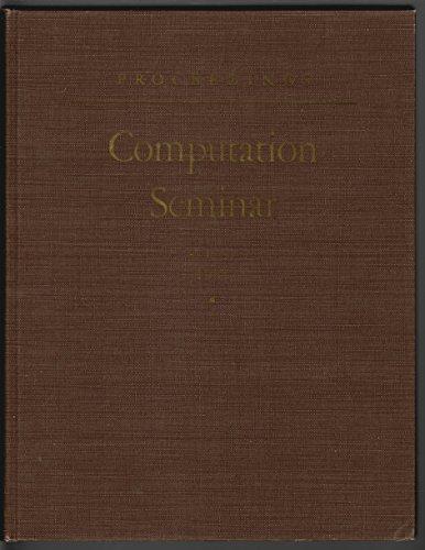 Proceedings : Computation Seminar : August 1951