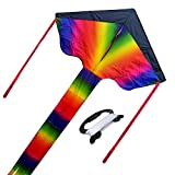 ZS-Juyi Rainbow Triangle Kite Gradient Rainbow Kite - Colorful Rainbow String Long Tail Kites for Kids