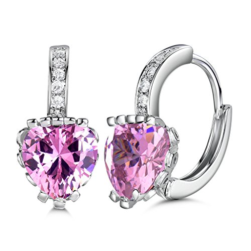 (GULICX White Gold Tone Lovely Cubic Zirconia Hoop Pierced Huggie Earrings lady Created pink sapphire)