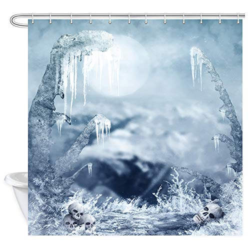 (Mystical Glacier Shower Curtain for Bathroom, Skull on an Iceberg on A Full Moon Night Halloween Decor Bath Curtains, Waterproof Fabric Shower Curtains 12PCS Hooks Accessories, 69X70)