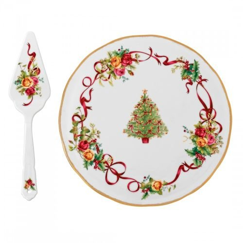 Royal Albert Old Country Roses Christmas Tree Low Cake Plate and Server