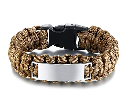 YIKOXI Free Engraving-Survival Paracord Bracelet Outdoor Wraps Emergency 350 Parachute Bracelet 9inch (Brown)