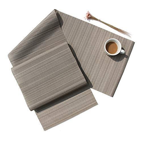- D-home Table Runner Durable Textilene Woven Vinyl Kitchen Dining Table Washable Heat-Resistant PVC Table Runner (Light Grey, 48