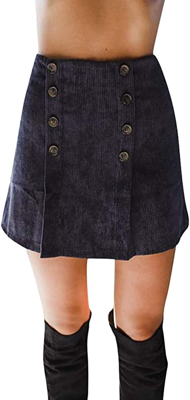 Mujer Pana Vestido Falda Alta Cinturilla Vestidos Cremallera Falda ...