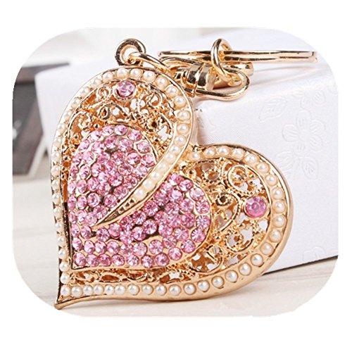 Fashion Lady's Keychain Heart Crystal Rhinestone Key Chain Key Ring Charm Purse Pendant Handbag Bag Decoration Holiday Christmas Gift For Girls (Heart keychain)