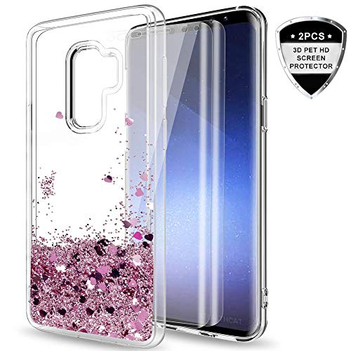 LeYi Samsung Galaxy S9 Plus Glitter Case (Not Fit S9) Tempered Glass Screen Protector [2 Pack] for Girls Women, Shiny Bling Liquid Protective Phone Case for Galaxy S9 Plus/S9 + ZX Rose Gold