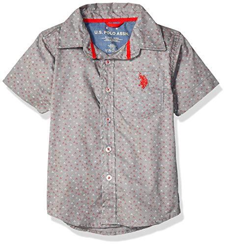 U.S. Polo Assn. Boys' Toddler Short Sleeve Printed Fashion Woven Shirt, Medium Grey, 3T
