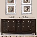 Silkroad Exclusive Cream Marfil Marble Stone Double Sink Bathroom Vanity  With Cabinet, 72 Inch