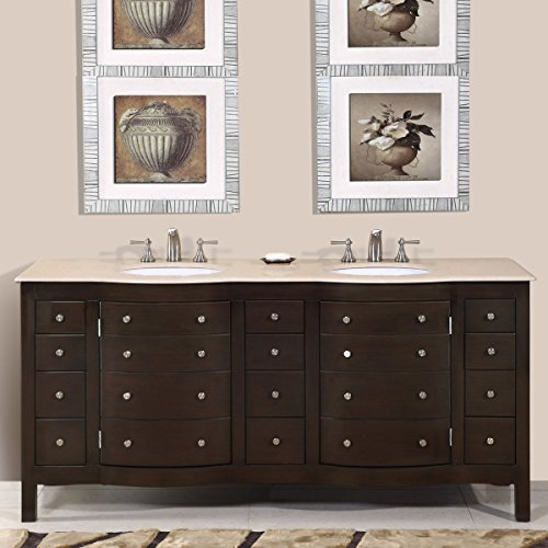 (Silkroad Exclusive HYP-0704-CM-UWC-72 Cream Marfil Marble Stone Double Sink Bathroom Vanity with Cabinet, 72