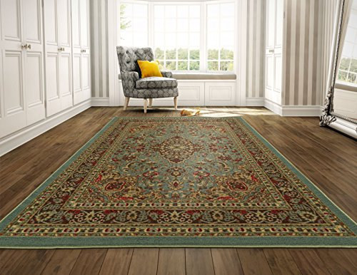 (Ottomanson Ottohome Persian Heriz Oriental Design Area Rug with Non-Skid Rubber Backing, Sage Green/Aqua Blue, 98