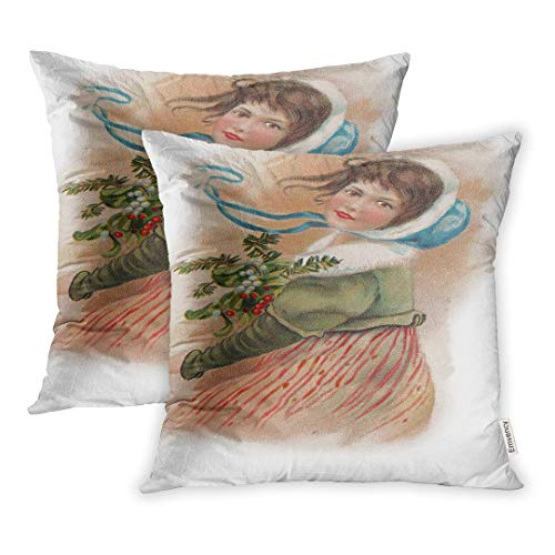 Emvency Christmas Vintage Girl Holly Victorian Old Classic Nostalgic Announce Throw Pillow Covers Cover Set of 2 16x16 Inch Two Side Pillowcase Cases Case