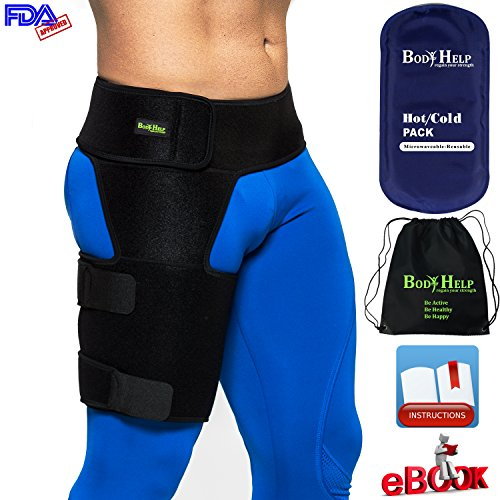 Body Help Thigh Support Brace for Immediate Pain Relief and Recovery Support - Unisex Compression Sleeve for Hip, Groin, and Thigh Pain and Injury ()