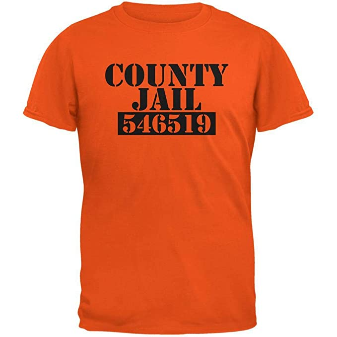 Halloween County Jail Inmate Costume Orange Adult T-Shirt