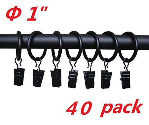 T O K G O 40-pack Black Matte Metal Curtain Rings with Clips (1