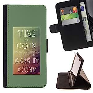 Momo Phone Case / Flip Funda de Cuero Case Cover - Tiempo Coin Conde Cartel monta?as Teal - Sony Xperia Z5 Compact Z5 Mini (Not for Normal Z5)