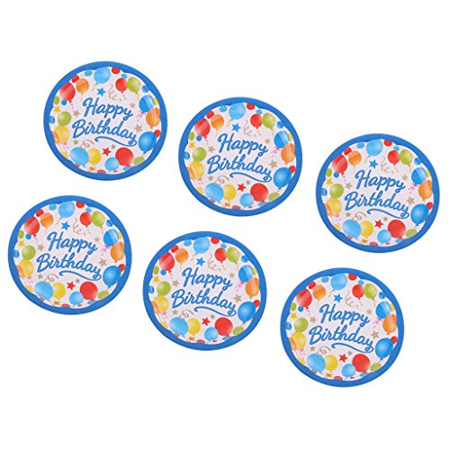 Jili Online Colorful Balloon Star Pattern Girls Boys Birthday 6pcs PAPER PLATES 18cm Round Plates Party Tableware Decorations by Jili Online (Image #5)