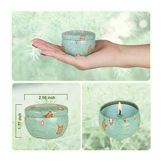 TQQFUN Soy Wax Aromatherapy Scented Candles Gift Set - Jasmine, Rose, Vanilla, Lemongrass for Stress Relief Travel Tin Candle for Home Use, Birthday, Christmas, Girls and Women Gift, Set of 4 - [4 Fragrances Scents] - This aromatherapy candles set has 4 scents including Jasmine, Rose, Vanilla, Lemongrass. Perfect for bath, massage, spa, yoga, etc [100% Natural Soy Candle] -Made of biodegradable and eco-friendly soy wax for a clean-burning and no black smoke experience. 2.5 oz for each candlewith 15-18 hours burning time. [Perfect Gift Choice] - Ideal for Birthdays, Valentines Day, Valentine's Day, Anniversaries, Mothers Day, or other holidays. Beautifully packaged in a designed gift box and uniquely decorated tin candles. - living-room-decor, living-room, candles - 51pmOnMYhJL. SS570  -