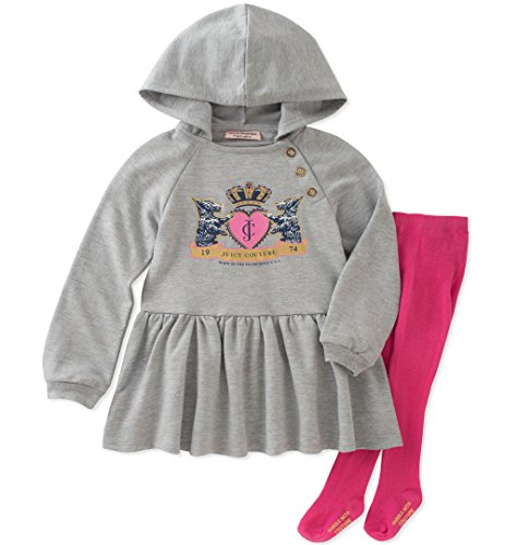 Juicy Couture Girls' Dress and Tight Set, Grey Heather/Pink Boxer, 18M