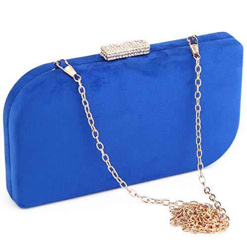 (Party Clutch Bags, Suede Night Purse Handbag Metal Frame Clutches Rhinestone Snap Evening Bride Wedding Bag)