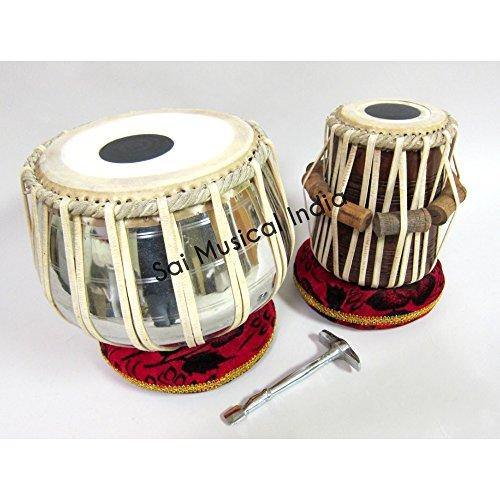 Queen Brass Tabla Set, Stainless Steel Bayan w/ Bag by Queen Brass