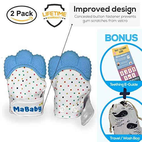 MaBaby Baby Teething Mitten | Teether Mitt | BPA Free Gloves | Shower Gifts (Blue, 1-Pack)