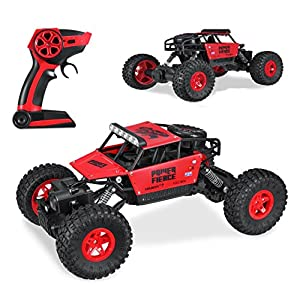 Hi-Tech 4WD 2.4Ghz Remote Control Car Off Road Monster Truck 1:18 Scale High Speed Rock Crawler for Kids and Adult,Present for Boys/Girls (Red)