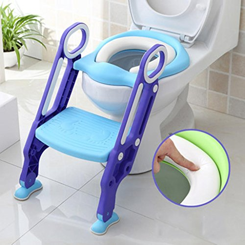 Creative Children Stool Toilet Stool Stepping Stool Bathroom Non-Slip Low Stool Step Ladder Staircase Stairs Thickening Plastic, Blue Purple ()