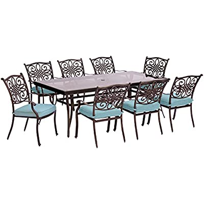 Hanover TRADDN9PCG-BLU Traditions 9 Piece Set in Blue with Extra-Long 84 x 41 Glass-Top Dining Table Outdoor Furniture, Bronze Frame, - 9-Piece Dining set from the Traditions collection Set includes eight stationary Dining chairs, eight seat cushions and an extra-long Dining Table Heavy-duty aluminum frames with ornate Lattice details - patio-furniture, dining-sets-patio-funiture, patio - 51pmPsILLrL. SS400  -